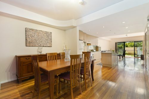 kitchen with modern twist along with hardwood floor